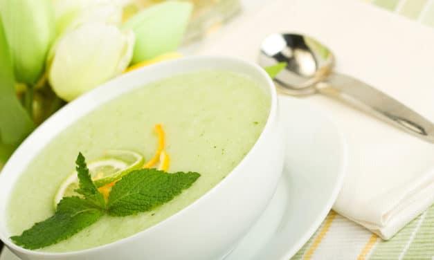 Sopa fría de melón con hierbabuena