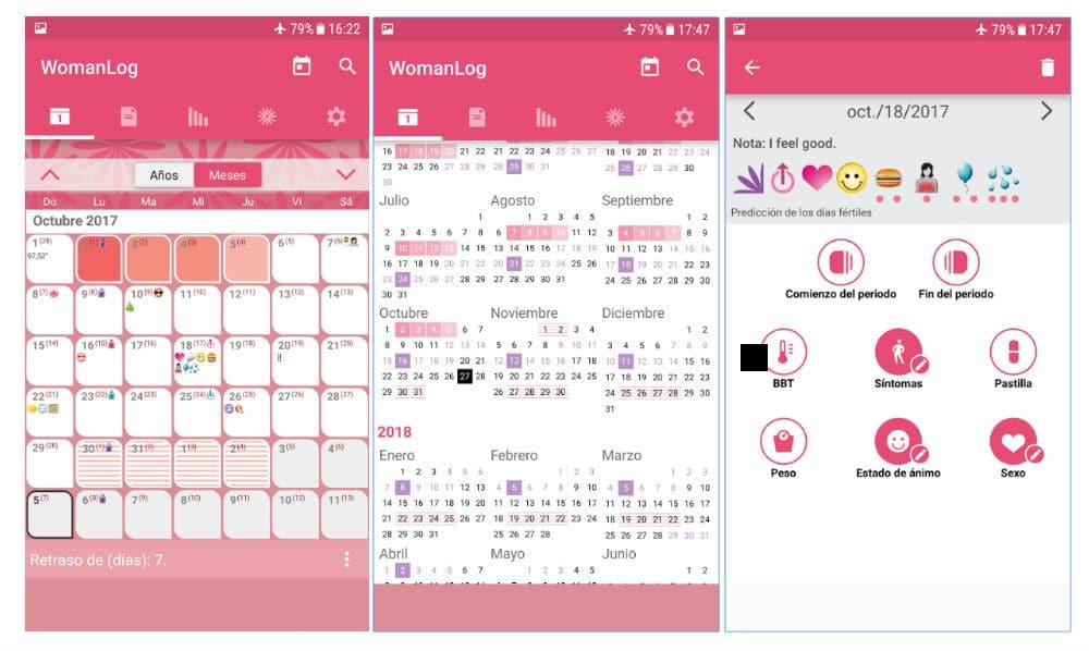 WomanLog, calendario de menstruación y fertilidad